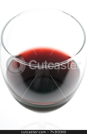 Red Wine glass stock photo, Macro of a glass of wine with shallow focus on the glass lip by Vince Clements