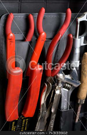 Technician's tools stock photo, A closeup of technician's tools in an attache toolbox by Vince Clements