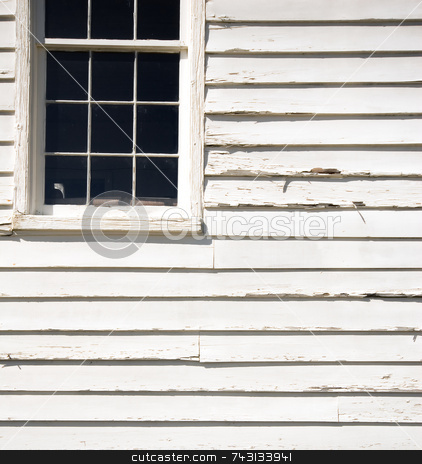Old sagging window stock photo, Graphic compostion of a window on an old wooden building by Vince Clements
