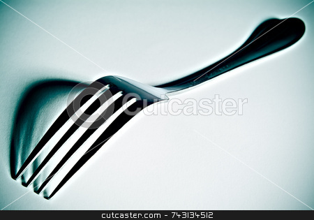 High contrast fork stock photo, High contrast close-up of a fork with defined shadows by Vince Clements