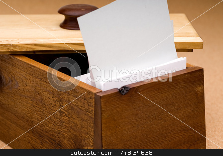 Blank recipe card in a wooden box for you to fill in stock photo, A blank recipe card in a wooden box for you to fill in with your own text by Vince Clements