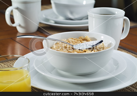 Morning breakfast cereal and coffee stock photo, Morning breakfast with cereal coffee and juice by Vince Clements