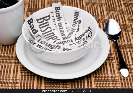 Morning news stock photo, Eating the morning news headlines for breakfast by Vince Clements