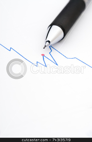 Pencil on a stock chart stock photo, Macro of a pencil on a stock chart by Vince Clements