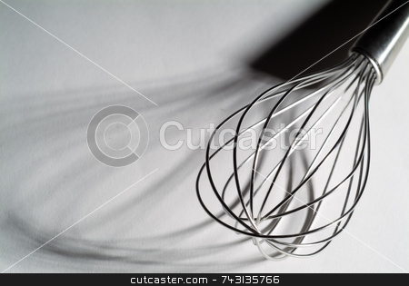 High contrast whisk with shadows stock photo, High contrast view of a standard wisk revealing interesting shadows. by Vince Clements