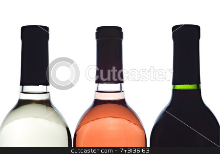 3 backlit wine bottles stock photo, 3 baclit wine bottles by Vince Clements