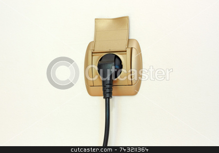 Power Plug and Socket stock photo, A power cable plugged into a wall socket by Georgios Alexandris