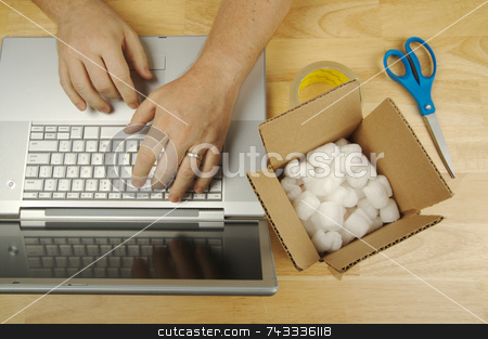 Businessman Works on Laptop  stock photo, Businessman Works on Laptop with Packaging materials at his side. by Andy Dean