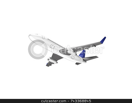 3D airplane on white stock photo, 3D airplane on white by John Teeter