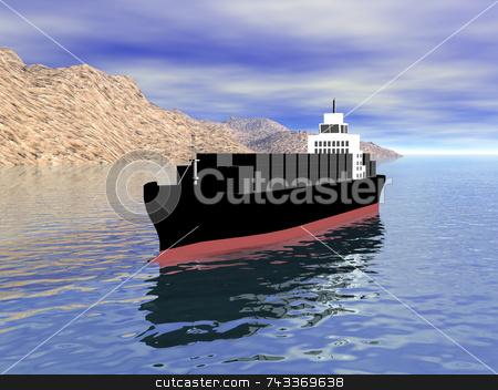 3D cargo ship in ocean stock photo, 3D cargo ship in ocean by John Teeter