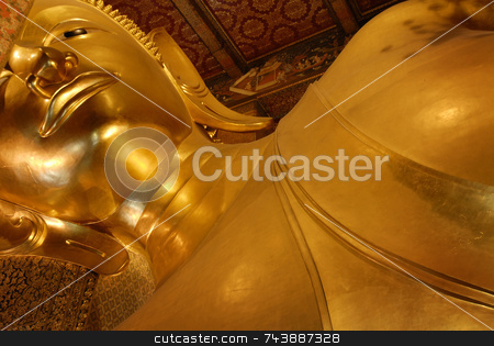 Reclining Buddha Thailand stock photo, The Buddhist Temple Wat Pho, commonly known as the Temple of the Reclining Buddha, was originally built in 1688 in the Phra Nakhon district of Bangkok Thailand. The temple, however, didn?? by A Cotton Photo