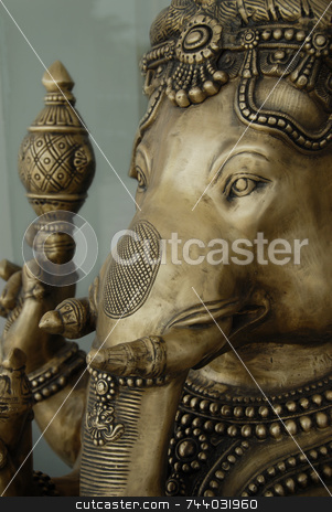 Ganesha Statue Brass stock photo, Ganesha Statue Close Up by A Cotton Photo