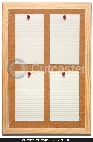Note paper stock photo, Note paper on a cork board with a white background. by Stephen Rees