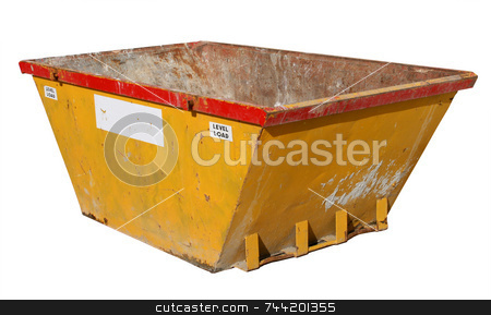 Old building site skip, isolated on a white background. stock photo, Old building site skip, isolated on a white background. by Stephen Rees