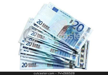 A stack of 20 Euro currency bank notes. stock photo, A stack of 20 Euro currency bank notes, isolated on a white background. by Stephen Rees