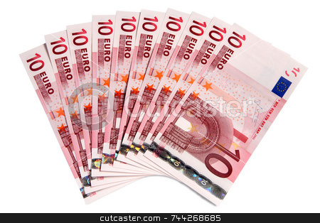 10 Euros notes fanned out on a white background. stock photo, 10 Euros notes fanned out on a white background. by Stephen Rees