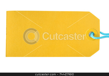 Yellow label tag on a white background. stock photo, Yellow label tag on a white background. by Stephen Rees