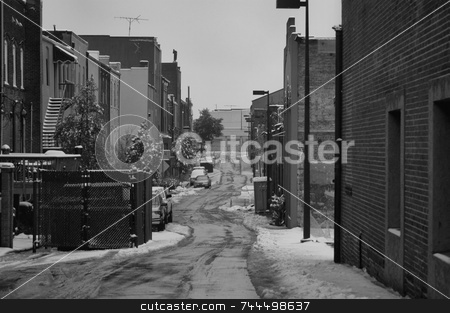 Back alley stock photo, Behind every city is a back alley, This one is seen in the winter time. by Tim Markley