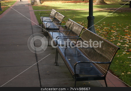 Park bench stock photo, Park bench in Portland Oregon ready for people needing a seat by Tim Markley