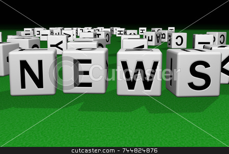Dice News stock photo, Dice on a green carpet making the word news by Jean Larue-Frechette