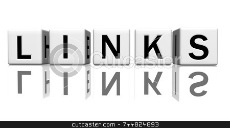 Dice white links stock photo, Dice isolated on a reflecting white ground, making the word links by Jean Larue-Frechette