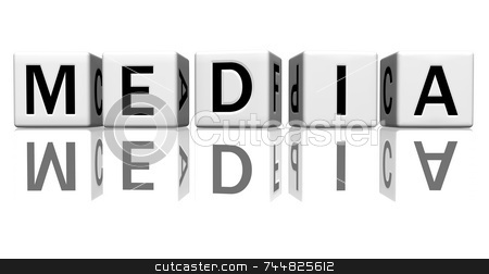 Dice white media stock photo, Dice isolated on a reflecting white ground, making the word media by Jean Larue-Frechette