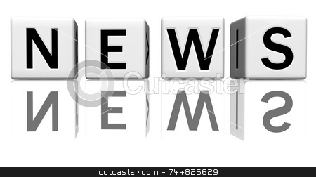 Dice white news stock photo, Dice isolated on a reflecting white ground, making the word news by Jean Larue-Frechette