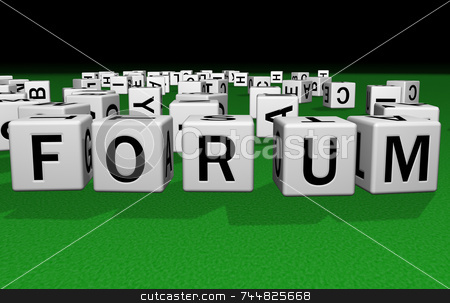Dice Forum stock photo, Dice on a green carpet making the word Forum by Jean Larue-Frechette