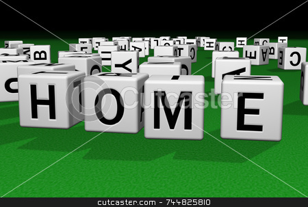 Dice Home stock photo, Dice on a green carpet making the word HOME by Jean Larue-Frechette