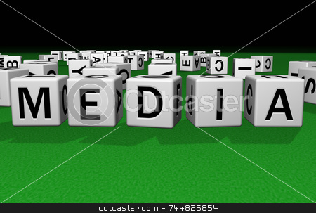 Dice Media stock photo, Dice on a green carpet making the word Media by Jean Larue-Frechette