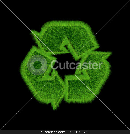 Recycle grass black stock photo, 3D recycling symbol with growing grass on all surfaces. black background. by Jean Larue-Frechette