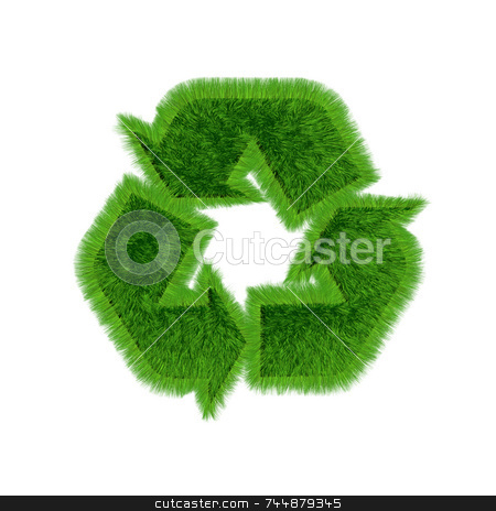 Recycle-logo-grass_white stock photo, 3D recycling symbol with growing grass on all surfaces. on white background. by Jean Larue-Frechette