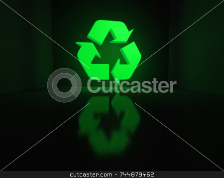 Glowing recycling symbol stock photo, A Glowing recycling symbol lighting a box by Jean Larue-Frechette