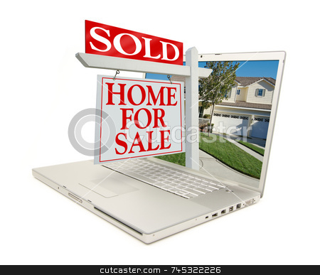 Laptop with home sold sign stock photo, Sold Home for Sale Sign & New Home on Laptop isolated on a white Background. by Andy Dean