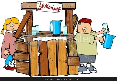 Lemonade Stand stock photo, This illustration depicts a boy and girl running a lemonade stand. by Dennis Cox