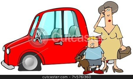 Flat Tire stock photo, This illustration depicts a woman and  small boy standing next to their car which has a flat tire. by Dennis Cox