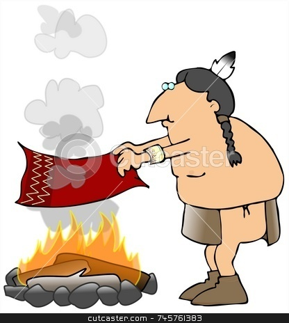 Indian Smoke Signals stock photo, This illustration depicts an American Indian sending smoke signals from a campfire. by Dennis Cox