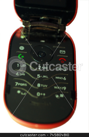 Flip-Up Mobile Phone stock photo, A photograph of a generic 'flip' cellphone by Philippa Willitts