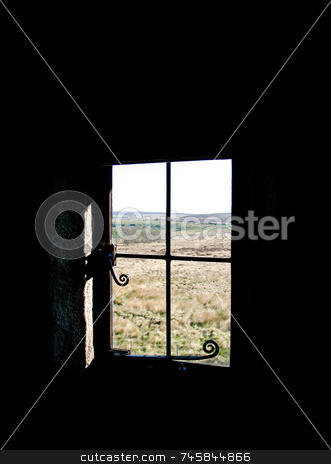 View from an old window stock photo, View looking out from an old window by Paul Phillips