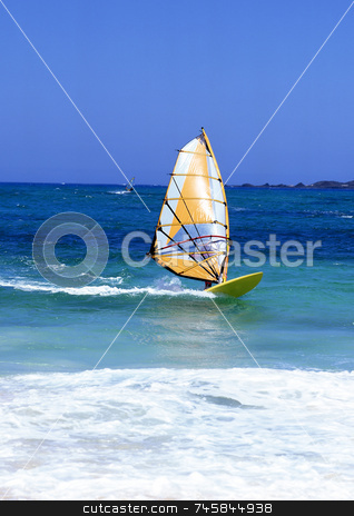 Lanzarote  stock photo, Windsurfer on Lanzarote, Canary Islands in a turquoise sea with white surf by Paul Phillips
