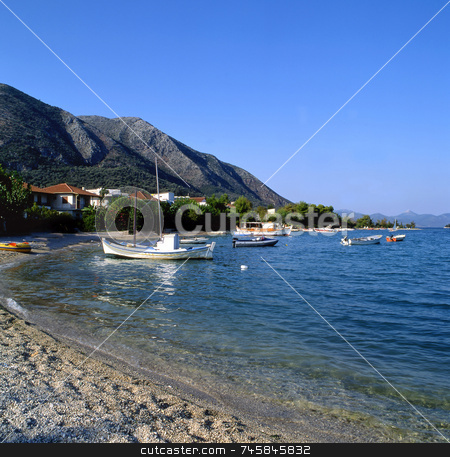 Lefkas stock photo, The greek island of Lefkas late evening by Paul Phillips