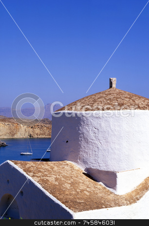 Lindos Bay stock photo, A greek church over looking the bay of Lindos on the island of Rhodes, Greece. by Paul Phillips