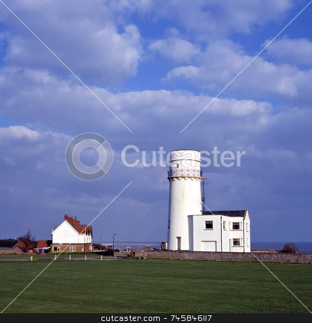 Beacon stock photo, Hunstanton lighthouse standing on a cliff by Paul Phillips