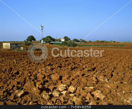 Dry Field stock photo, Irrigation and agriculture in southern Cyprus near Paralimni by Paul Phillips