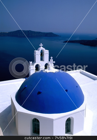 Church Santorini, Greece stock photo, Greek Island Church, Santorini by Paul Phillips