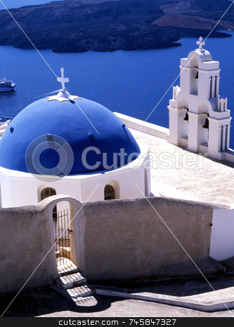 Santorini stock photo, Church overlooking the bay of Santorini, Greece, Europe by Paul Phillips