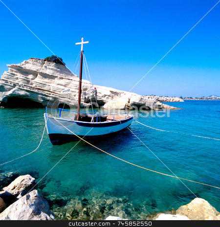 Tied stock photo, A fishing boat moored in Sidari, Corfu by Paul Phillips