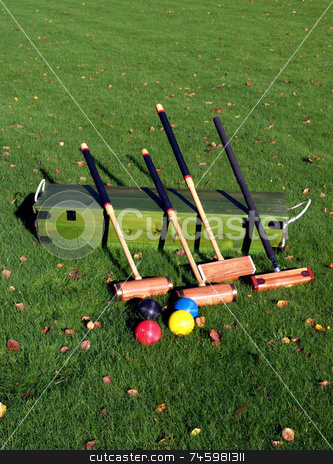 Croquet stock photo, A Croquet set on the lawn by Paul Phillips