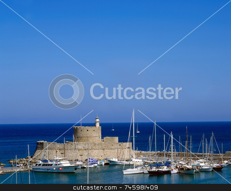 Mandraki stock photo, The harbour of Rhodes Greece old town by Paul Phillips