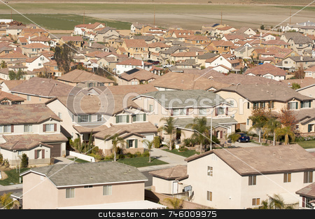 Contemporary Suburban Neighborhood stock photo, Elevated View of New Contemporary Suburban Neighborhood. by Andy Dean